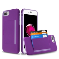 Poket Credit Card Hybrid Armor Case for iPhone 8 Plus / 7 Plus / 6S Plus / 6 Plus - Purple