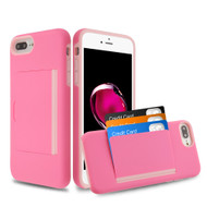 Poket Credit Card Hybrid Armor Case for iPhone 8 Plus / 7 Plus / 6S Plus / 6 Plus - Pink