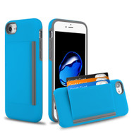 Poket Credit Card Hybrid Armor Case for iPhone 8 / 7 / 6S / 6 - Blue