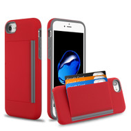 Poket Credit Card Hybrid Armor Case for iPhone 8 / 7 / 6S / 6 - Red
