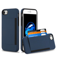 Poket Credit Card Hybrid Armor Case for iPhone 8 / 7 / 6S / 6 - Navy Blue