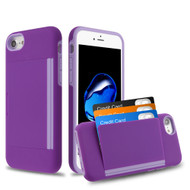 Poket Credit Card Hybrid Armor Case for iPhone 8 / 7 / 6S / 6 - Purple