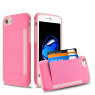 Poket Credit Card Hybrid Armor Case for iPhone 8 / 7 / 6S / 6 - Pink