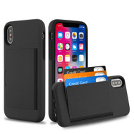 Poket Credit Card Hybrid Armor Case for iPhone XS / X - Black