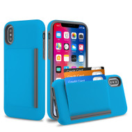 Poket Credit Card Hybrid Armor Case for iPhone XS / X - Blue