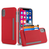 Poket Credit Card Hybrid Armor Case for iPhone XS / X - Red