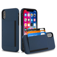 Poket Credit Card Hybrid Armor Case for iPhone XS / X - Navy Blue