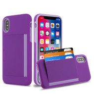 *Sale* Poket Credit Card Hybrid Armor Case for iPhone XS / X - Purple