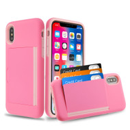 Poket Credit Card Hybrid Armor Case for iPhone XS / X - Pink