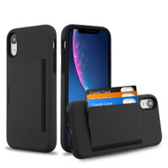 Poket Credit Card Hybrid Armor Case for iPhone XR - Black