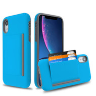 Poket Credit Card Hybrid Armor Case for iPhone XR - Blue