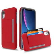 Poket Credit Card Hybrid Armor Case for iPhone XR - Red