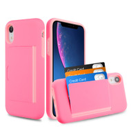 Poket Credit Card Hybrid Armor Case for iPhone XR - Pink