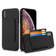 Poket Credit Card Hybrid Armor Case for iPhone XS Max - Black