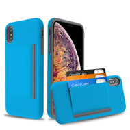 Poket Credit Card Hybrid Armor Case for iPhone XS Max - Blue