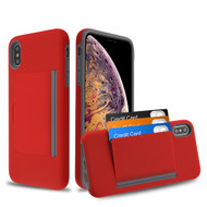 Poket Credit Card Hybrid Armor Case for iPhone XS Max - Red