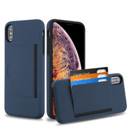 Poket Credit Card Hybrid Armor Case for iPhone XS Max - Navy Blue