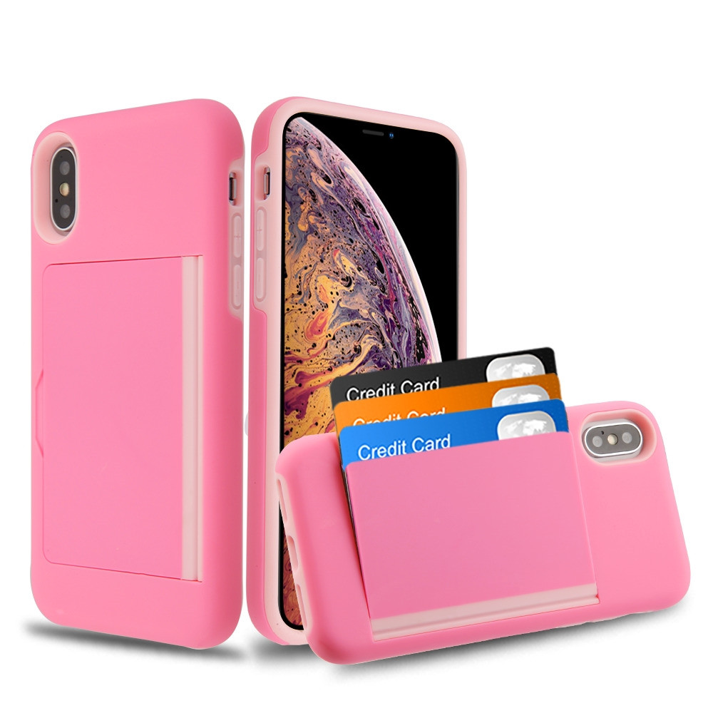 Poket Credit Card Hybrid Armor Case For Iphone Xs Max Pink