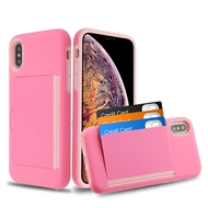 Poket Credit Card Hybrid Armor Case for iPhone XS Max - Pink