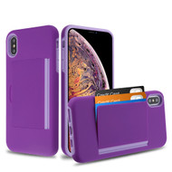 Poket Credit Card Hybrid Armor Case for iPhone XS Max - Purple