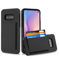 Poket Credit Card Hybrid Armor Case for Samsung Galaxy S10e - Black