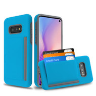 Poket Credit Card Hybrid Armor Case for Samsung Galaxy S10e - Blue