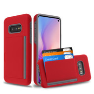 Poket Credit Card Hybrid Armor Case for Samsung Galaxy S10e - Red