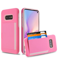 Poket Credit Card Hybrid Armor Case for Samsung Galaxy S10e - Pink