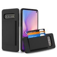 Poket Credit Card Hybrid Armor Case for Samsung Galaxy S10 - Black