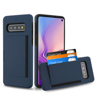 Poket Credit Card Hybrid Armor Case for Samsung Galaxy S10 - Navy Blue