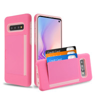 *Sale* Poket Credit Card Hybrid Armor Case for Samsung Galaxy S10 - Pink