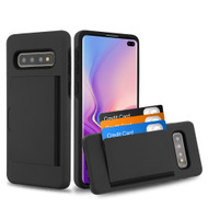 *SALE* Poket Credit Card Hybrid Armor Case for Samsung Galaxy S10 Plus - Black