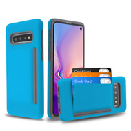 Poket Credit Card Hybrid Armor Case for Samsung Galaxy S10 Plus - Blue