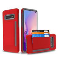 Poket Credit Card Hybrid Armor Case for Samsung Galaxy S10 Plus - Red
