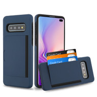 Poket Credit Card Hybrid Armor Case for Samsung Galaxy S10 Plus - Navy Blue