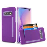 Poket Credit Card Hybrid Armor Case for Samsung Galaxy S10 Plus - Purple