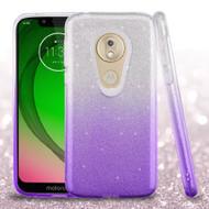 *Sale* Full Glitter Hybrid Protective Case for Motorola Moto G7 Play - Gradient Purple