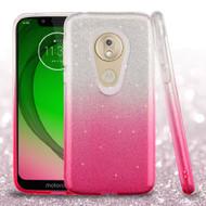 *Sale* Full Glitter Hybrid Protective Case for Motorola Moto G7 Play - Gradient Hot Pink