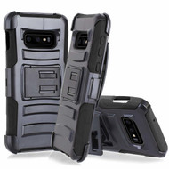 Advanced Armor Hybrid Kickstand Case with Holster for Samsung Galaxy S10e - Black 01