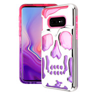 Military Grade Certified Skullcap Lucid Transparent Hybrid Armor Case for Samsung Galaxy S10e - Silver Hot Pink Purple