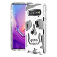 Military Grade Certified Skullcap Lucid Transparent Hybrid Armor Case for Samsung Galaxy S10 Plus - Silver Clear
