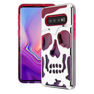 Military Grade Certified Skullcap Lucid Transparent Hybrid Armor Case for Samsung Galaxy S10 Plus - Silver Hot Pink Purple