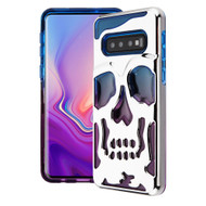 Military Grade Certified Skullcap Lucid Transparent Hybrid Armor Case for Samsung Galaxy S10 Plus - Silver Blue Purple