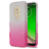 *Sale* Tuff Full Glitter Hybrid Protective Case for Motorola Moto G7 Play - Gradient Hot Pink