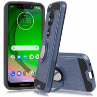 *Sale* Sports Hybrid Armor Case with Smart Loop Ring Holder for Motorola Moto G7 Play - Blue