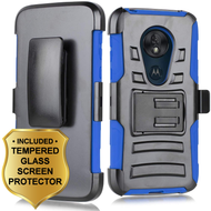 *Sale* Advanced Armor Hybrid Case with Holster and Tempered Glass Screen Protector for Motorola Moto G7 Play - Blue