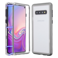 Magnetic Adsorption Tempered Glass Hybrid Bumper Case and Screen Protector for Samsung Galaxy S10 - Silver