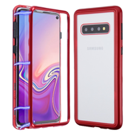 Magnetic Adsorption Tempered Glass Hybrid Bumper Case and Screen Protector for Samsung Galaxy S10 - Red