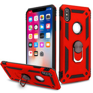 Armor Ring Finger Loop Hybrid Case for iPhone XS / X - Red