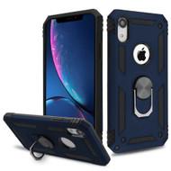 Armor Ring Finger Loop Hybrid Case for iPhone XR - Navy Blue